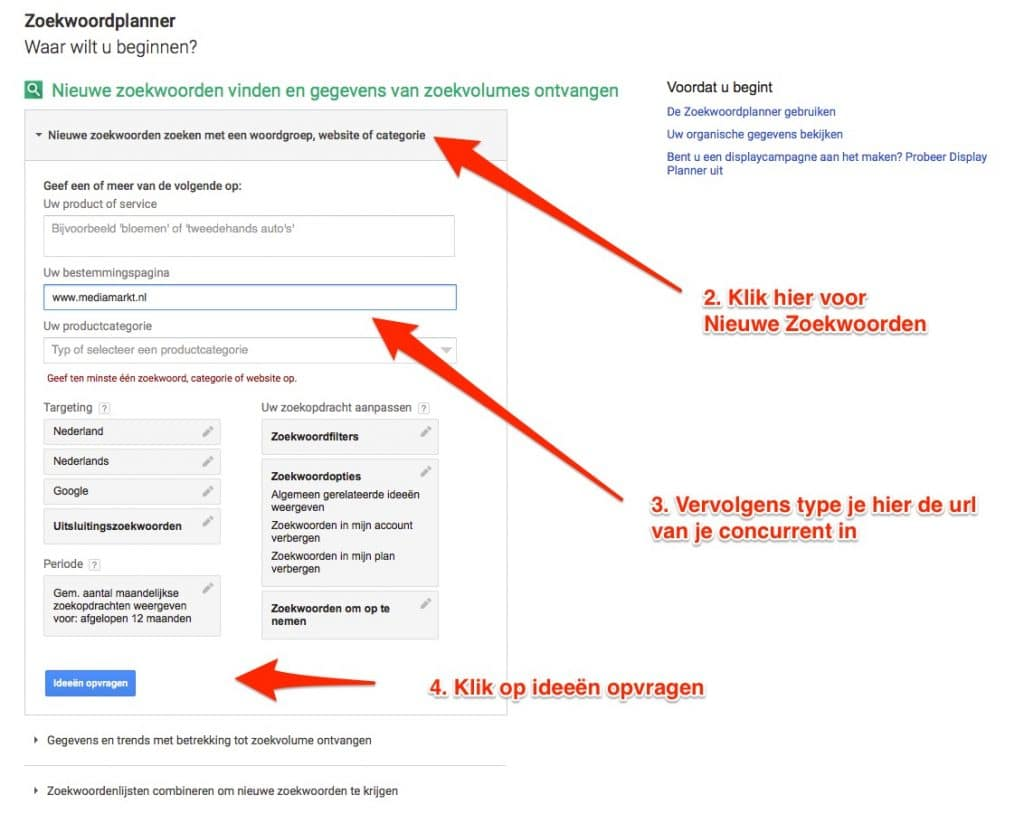 zoekwoordplanner concurrentieanalyse