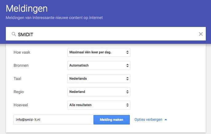 Google alerts melding maken