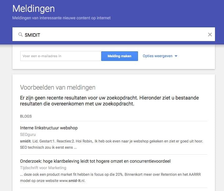 voorbeeld meldingen google alerts