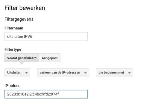 IPV6 adres uitsluiten Google Analytics